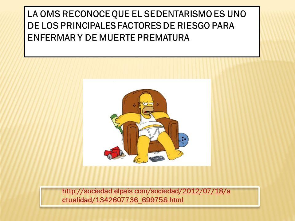 LA OMS RECONOCE QUE EL SEDENTARISMO ES UNO DE LOS PRINCIPALES FACTORES DE RIESGO PARA ENFERMAR Y DE MUERTE PREMATURA http://sociedad.elpais.com/socied