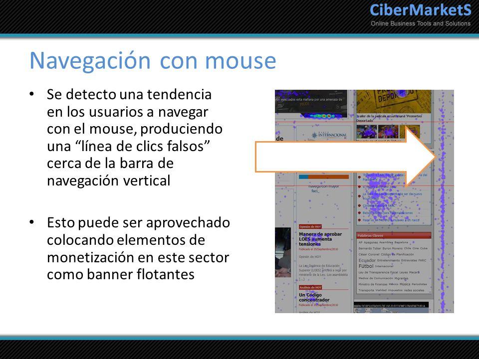 Navegación con mouse Se detecto una tendencia en los usuarios a navegar con el mouse, produciendo una línea de clics falsos cerca de la barra de naveg