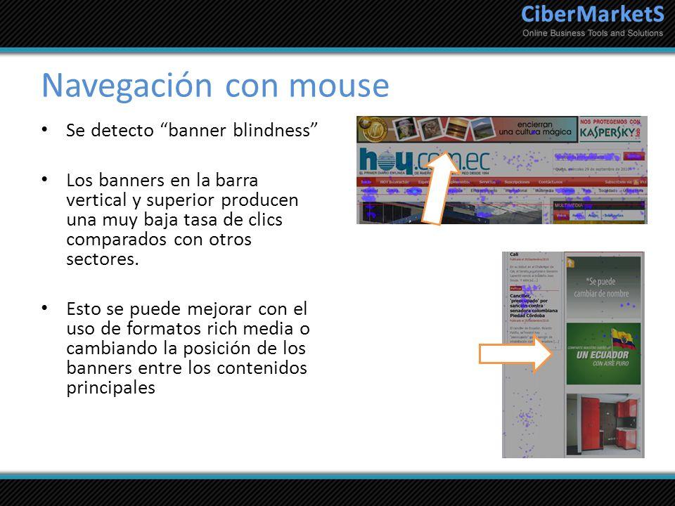Navegación con mouse Se detecto banner blindness Los banners en la barra vertical y superior producen una muy baja tasa de clics comparados con otros
