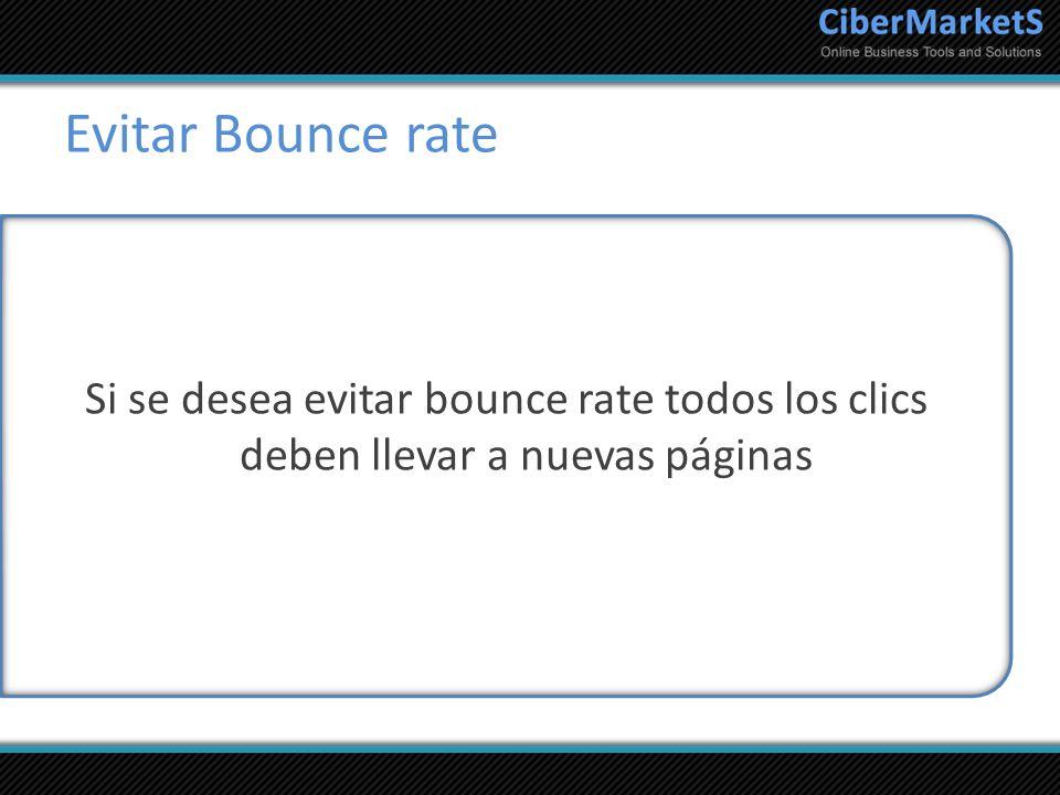 Evitar Bounce rate Si se desea evitar bounce rate todos los clics deben llevar a nuevas páginas