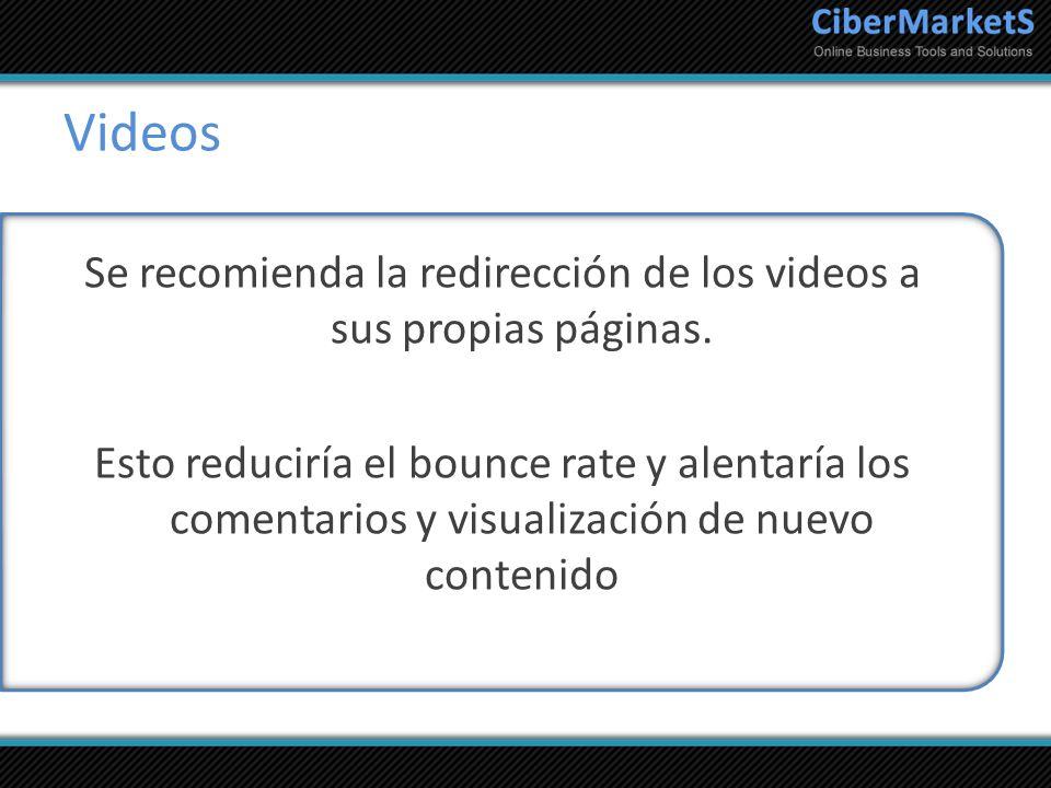 Videos Se recomienda la redirección de los videos a sus propias páginas. Esto reduciría el bounce rate y alentaría los comentarios y visualización de