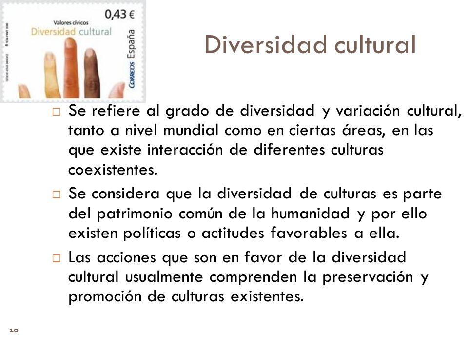 10 Diversidad cultural Se refiere al grado de diversidad y variación cultural, tanto a nivel mundial como en ciertas áreas, en las que existe interacc