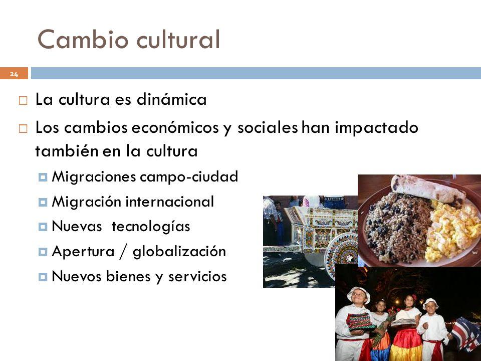 Cambio cultural 24 La cultura es dinámica Los cambios económicos y sociales han impactado también en la cultura Migraciones campo-ciudad Migración int