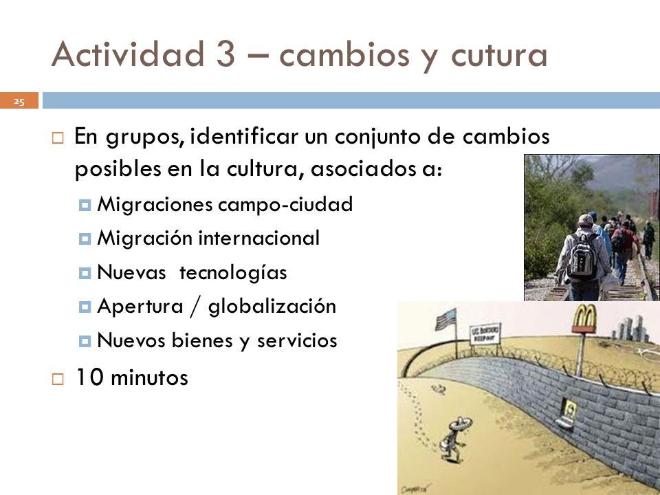Actividad 3 – cambios y cutura 25 En grupos, identificar un conjunto de cambios posibles en la cultura, asociados a: Migraciones campo-ciudad Migració