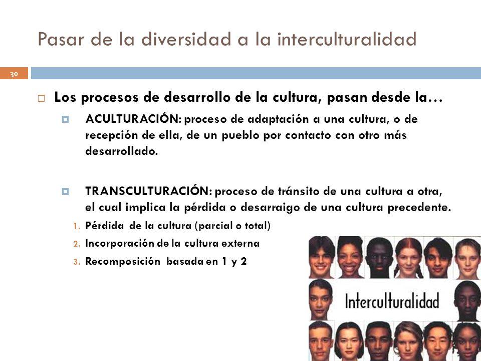 Pasar de la diversidad a la interculturalidad 30 Los procesos de desarrollo de la cultura, pasan desde la… ACULTURACIÓN: proceso de adaptación a una c