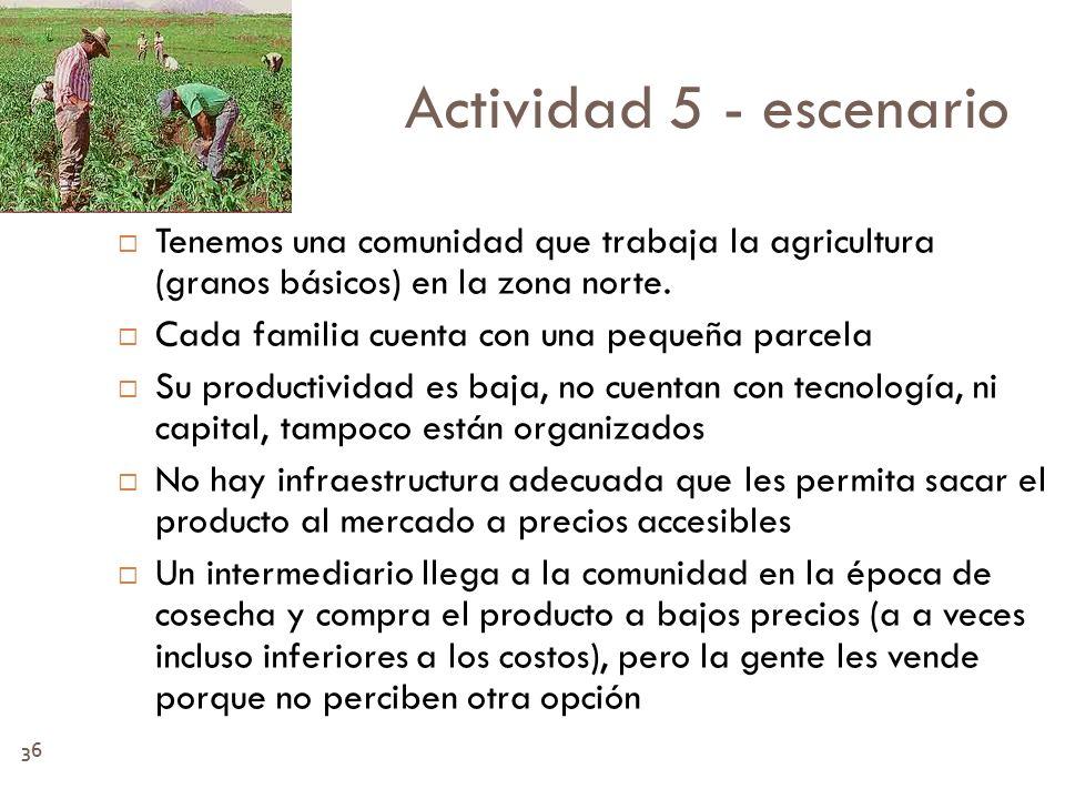 36 Actividad 5 - escenario Tenemos una comunidad que trabaja la agricultura (granos básicos) en la zona norte. Cada familia cuenta con una pequeña par