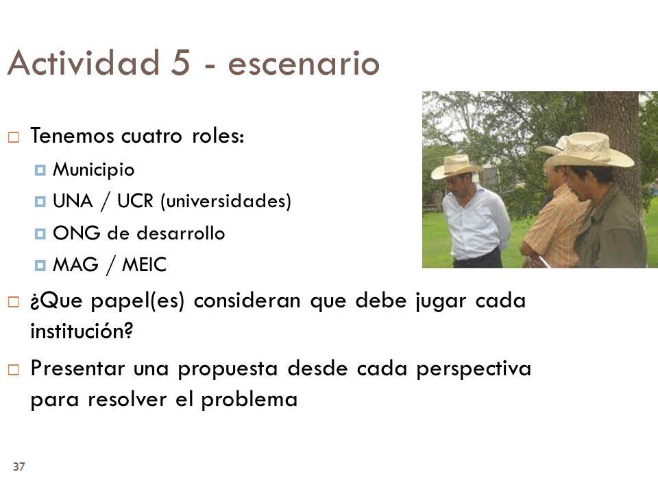 37 Actividad 5 - escenario Tenemos cuatro roles: Municipio UNA / UCR (universidades) ONG de desarrollo MAG / MEIC ¿Que papel(es) consideran que debe j