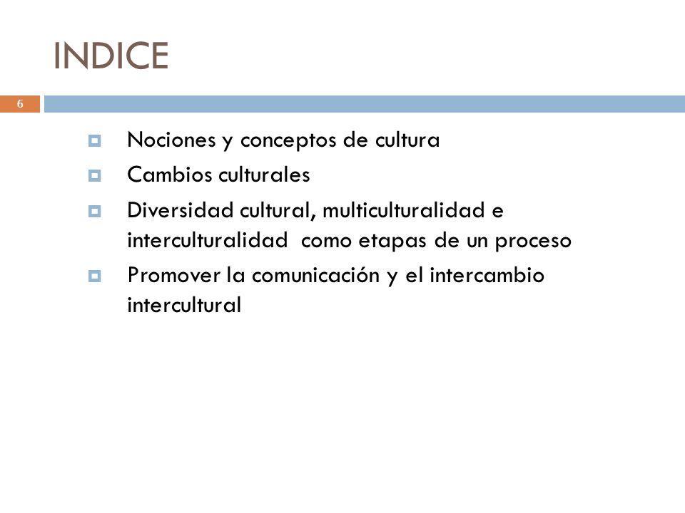INDICE 6 Nociones y conceptos de cultura Cambios culturales Diversidad cultural, multiculturalidad e interculturalidad como etapas de un proceso Promo