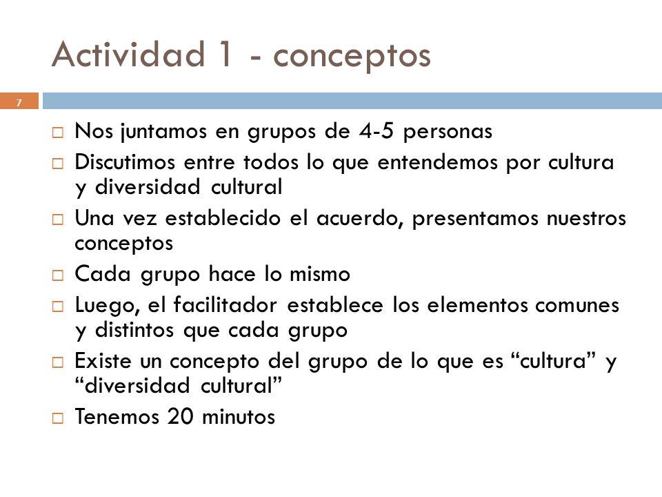 Actividad 1 - conceptos 7 Nos juntamos en grupos de 4-5 personas Discutimos entre todos lo que entendemos por cultura y diversidad cultural Una vez es