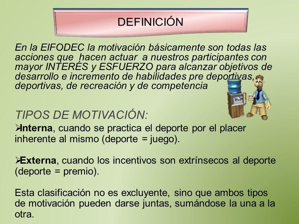En la EIFODEC la motivación básicamente son todas las acciones que hacen actuar a nuestros participantes con mayor INTERÉS y ESFUERZO para alcanzar ob