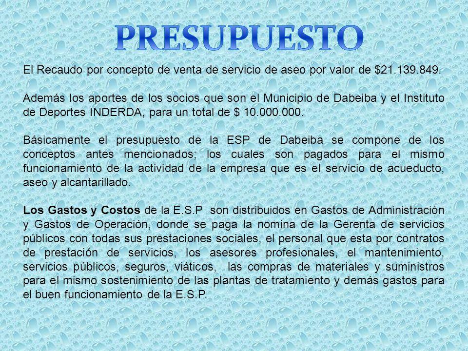 El Recaudo por concepto de venta de servicio de aseo por valor de $21.139.849. Además los aportes de los socios que son el Municipio de Dabeiba y el I