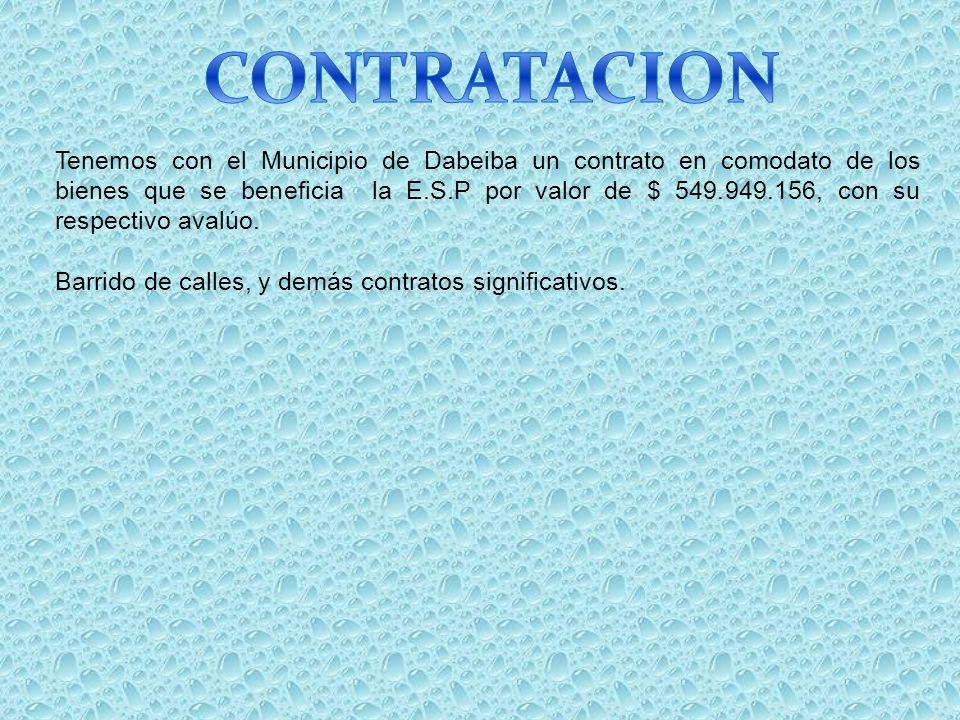 Tenemos con el Municipio de Dabeiba un contrato en comodato de los bienes que se beneficia la E.S.P por valor de $ 549.949.156, con su respectivo aval