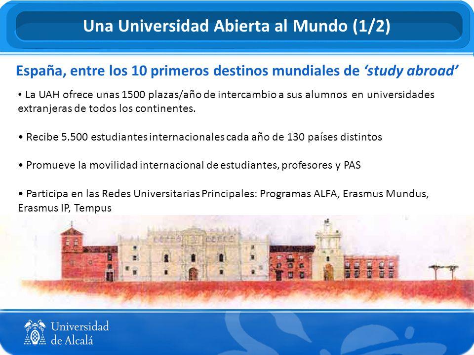 La UAH ofrece unas 1500 plazas/año de intercambio a sus alumnos en universidades extranjeras de todos los continentes. Recibe 5.500 estudiantes intern