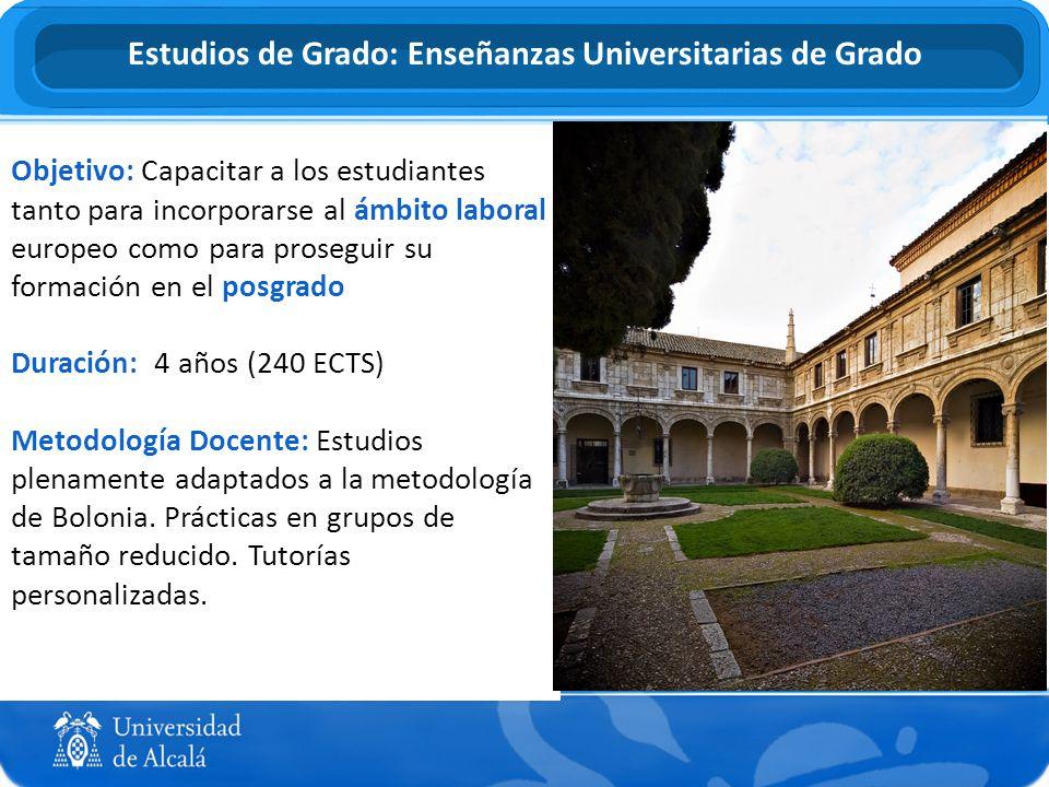 Objetivo: Capacitar a los estudiantes tanto para incorporarse al ámbito laboral europeo como para proseguir su formación en el posgrado Duración: 4 añ