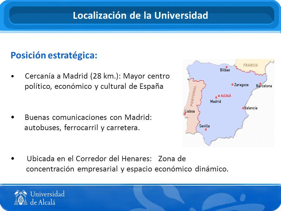 Localización de la Universidad Posición estratégica: Cercanía a Madrid (28 km.): Mayor centro político, económico y cultural de España Buenas comunica