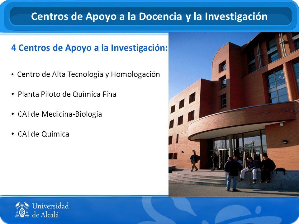4 Centros de Apoyo a la Investigación: Centro de Alta Tecnología y Homologación Planta Piloto de Química Fina CAI de Medicina-Biología CAI de Química