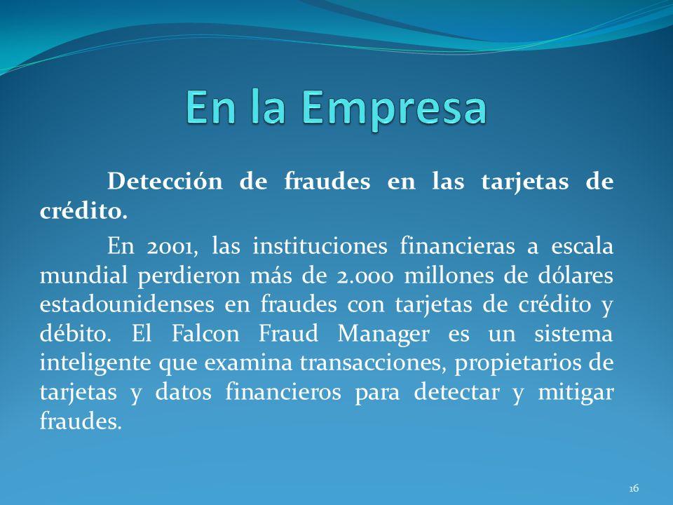 Detección de fraudes en las tarjetas de crédito. En 2001, las instituciones financieras a escala mundial perdieron más de 2.000 millones de dólares es