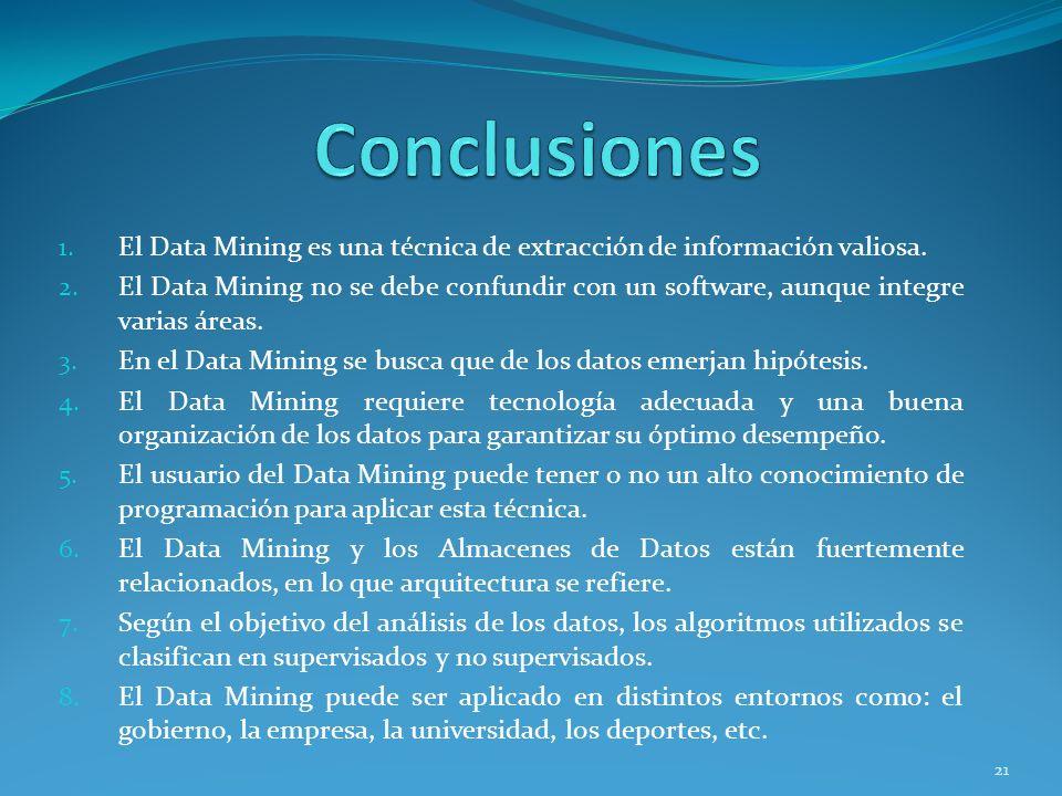 1. El Data Mining es una técnica de extracción de información valiosa. 2. El Data Mining no se debe confundir con un software, aunque integre varias á