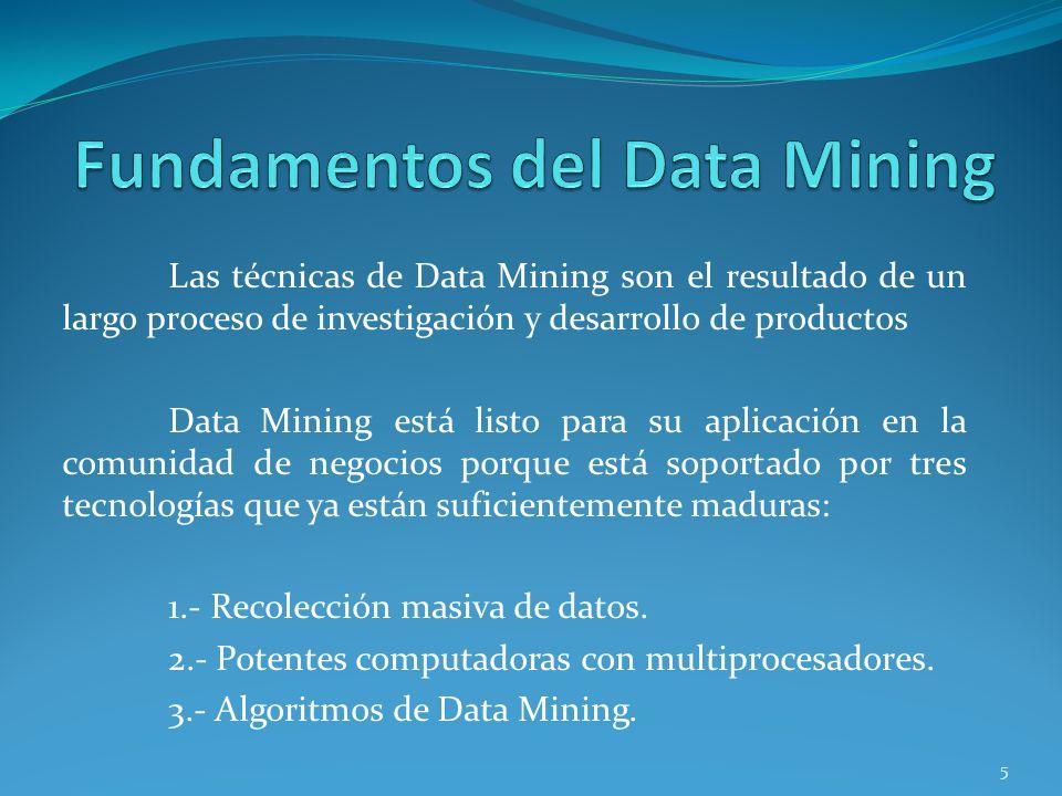 Las técnicas de Data Mining son el resultado de un largo proceso de investigación y desarrollo de productos Data Mining está listo para su aplicación