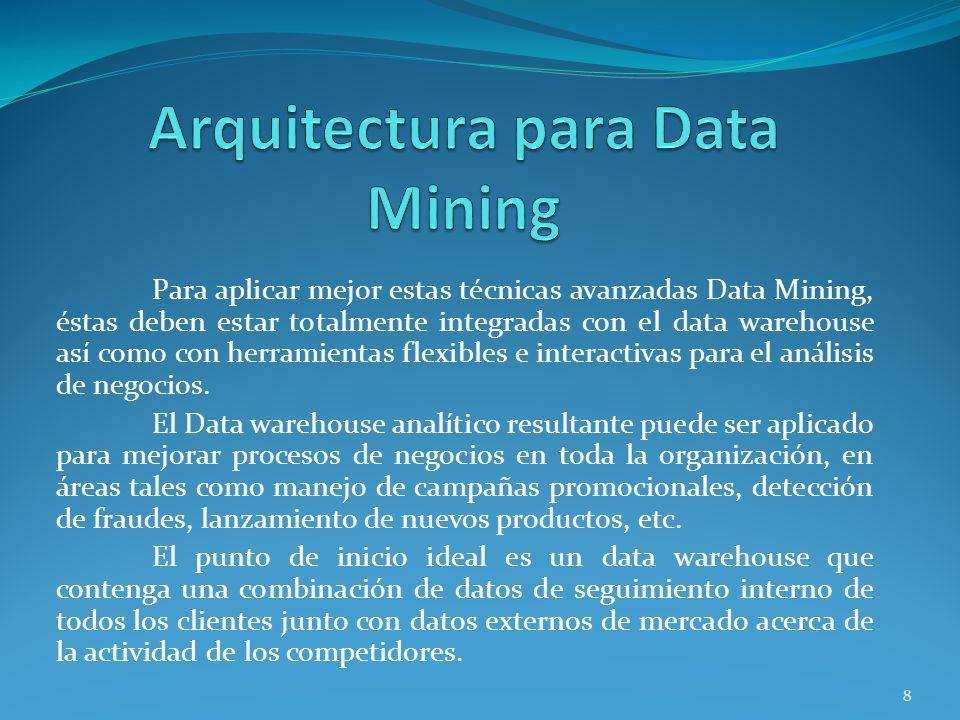 Para aplicar mejor estas técnicas avanzadas Data Mining, éstas deben estar totalmente integradas con el data warehouse así como con herramientas flexi