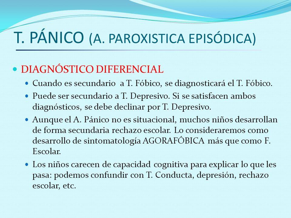 T. PÁNICO (A. PAROXISTICA EPISÓDICA) DIAGNÓSTICO DIFERENCIAL Cuando es secundario a T. Fóbico, se diagnosticará el T. Fóbico. Puede ser secundario a T