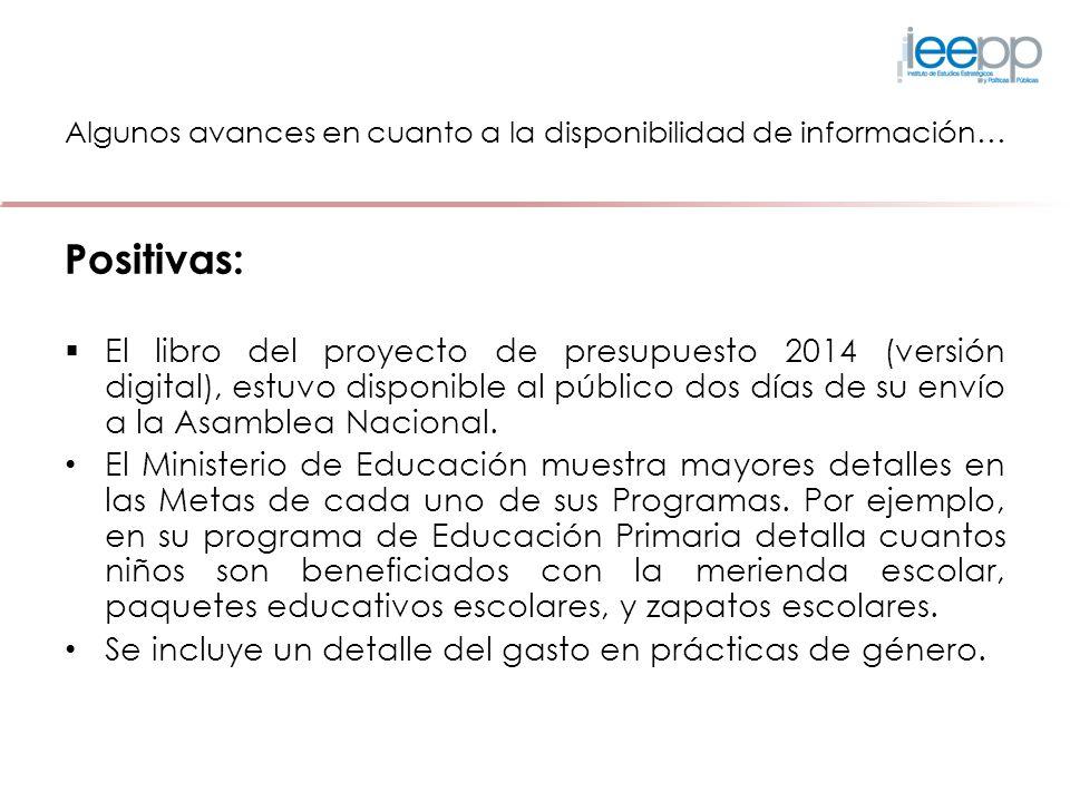 Algunos avances en cuanto a la disponibilidad de información… Positivas: El libro del proyecto de presupuesto 2014 (versión digital), estuvo disponibl