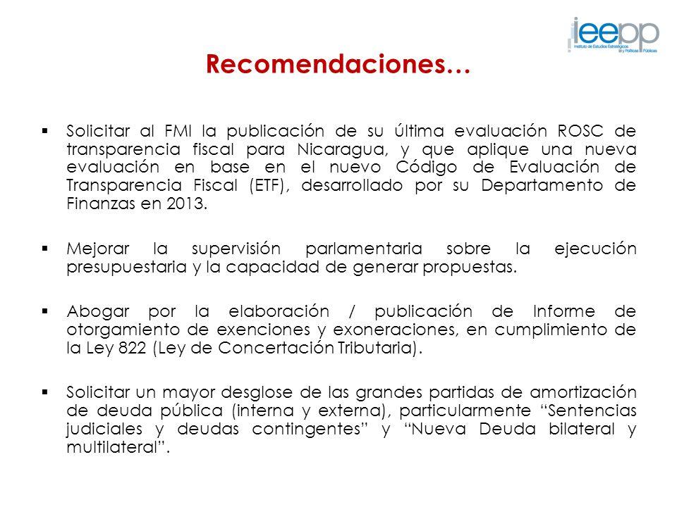 Recomendaciones… Solicitar al FMI la publicación de su última evaluación ROSC de transparencia fiscal para Nicaragua, y que aplique una nueva evaluaci