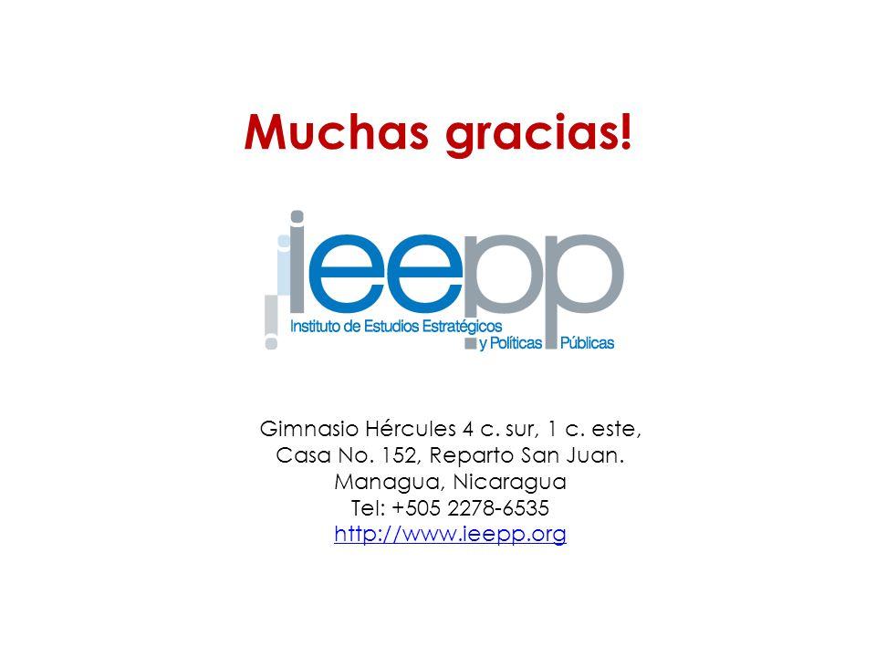 Gimnasio Hércules 4 c. sur, 1 c. este, Casa No. 152, Reparto San Juan. Managua, Nicaragua Tel: +505 2278-6535 http://www.ieepp.org Muchas gracias!