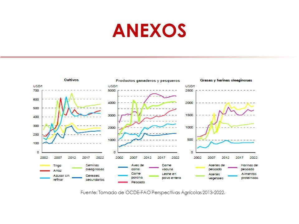 Fuente: Tomado de OCDE-FAO Perspectivas Agrícolas 2013-2022.