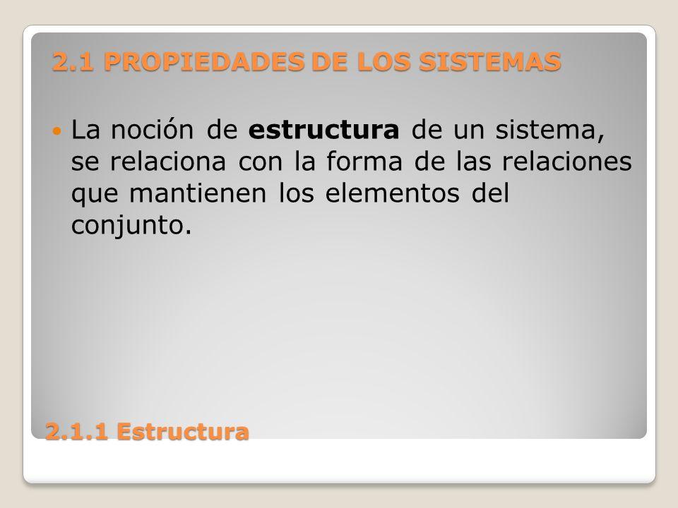 2.1.1 Estructura La estructura puede ser simple o compleja, dependiendo del número y tipo de interrelaciones entre las partes del sistema.