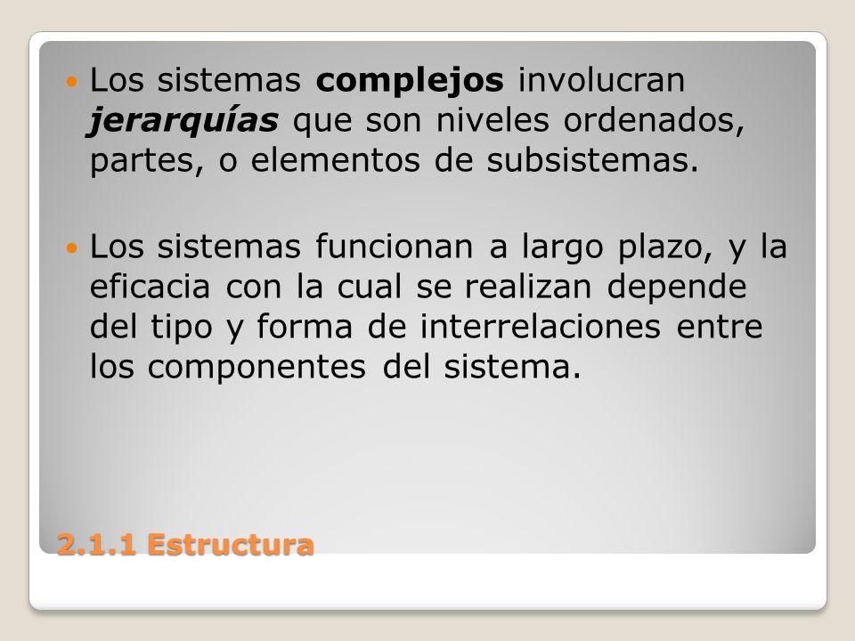 2.1.1 Estructura Las interrelaciones más o menos estables entre las partes o componentes de un sistema, que pueden ser verificadas (identificadas) en un momento dado, constituyen la estructura del sistema.