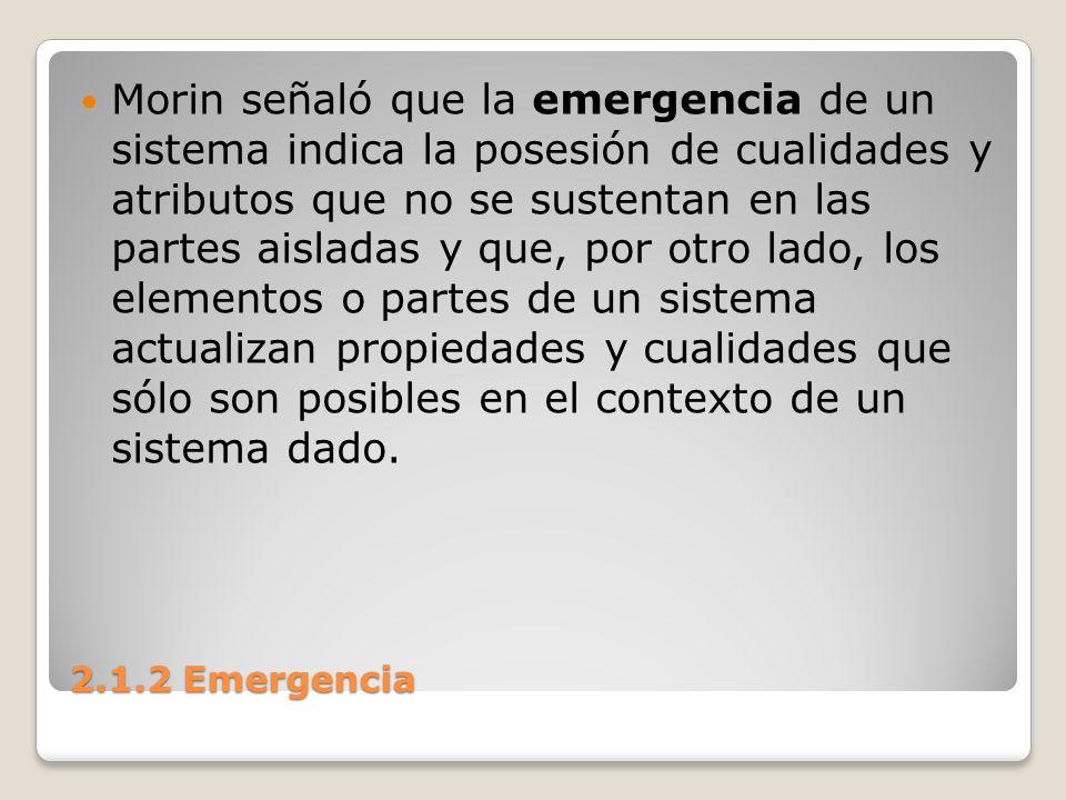 2.1.2 Emergencia Esto significa que las propiedades inmanentes de los componentes sistémicos no pueden aclarar su emergencia.
