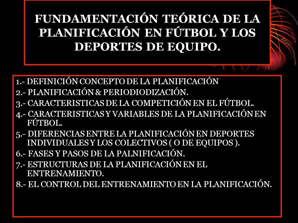 FUNDAMENTACIÓN TEÓRICA DE LA PLANIFICACIÓN EN FÚTBOL Y LOS DEPORTES DE EQUIPO. 1.- DEFINICIÓN CONCEPTO DE LA PLANIFICACIÓN 2.- PLANIFICACIÓN & PERIODI
