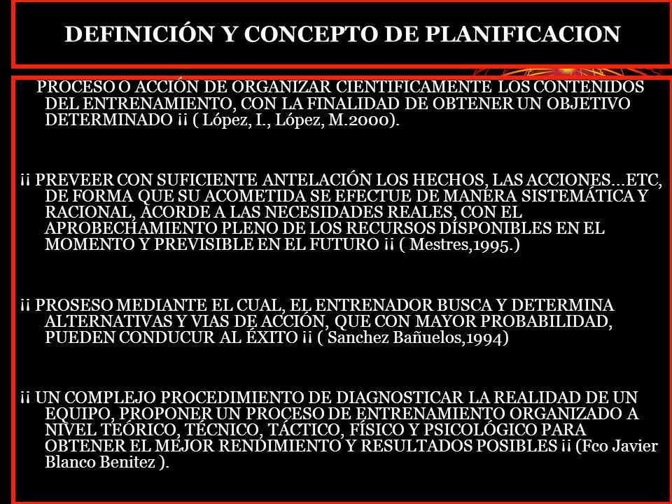DEFINICIÓN Y CONCEPTO DE PLANIFICACION ¡¡ PROCESO O ACCIÓN DE ORGANIZAR CIENTIFICAMENTE LOS CONTENIDOS DEL ENTRENAMIENTO, CON LA FINALIDAD DE OBTENER UN OBJETIVO DETERMINADO ¡¡ ( López, I., López, M.2000).