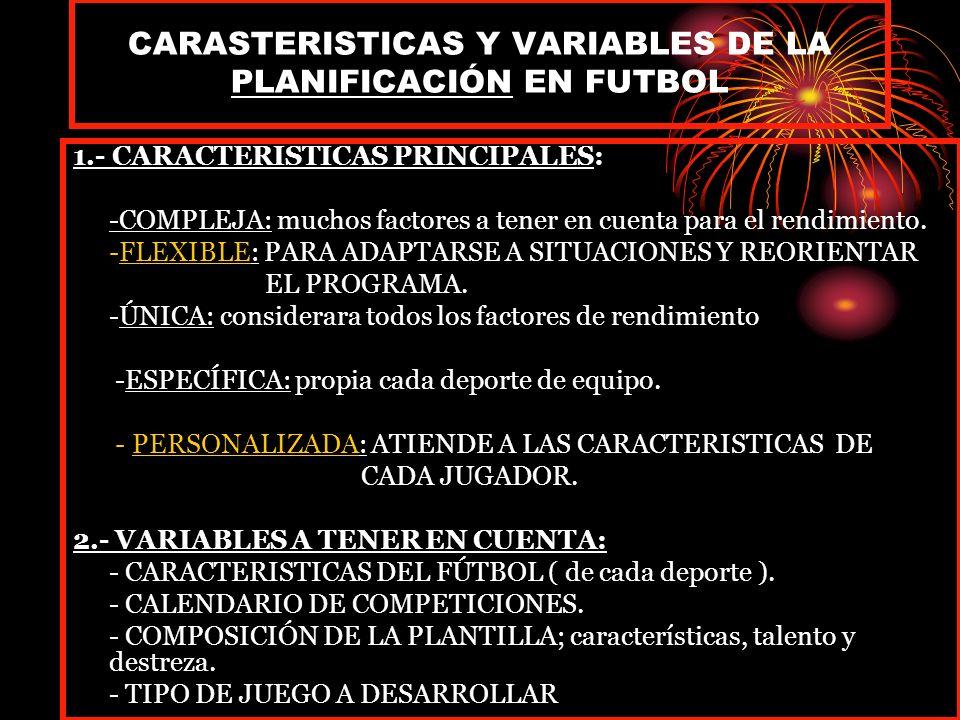 CARASTERISTICAS Y VARIABLES DE LA PLANIFICACIÓN EN FUTBOL 1.- CARACTERISTICAS PRINCIPALES: -COMPLEJA: muchos factores a tener en cuenta para el rendimiento.