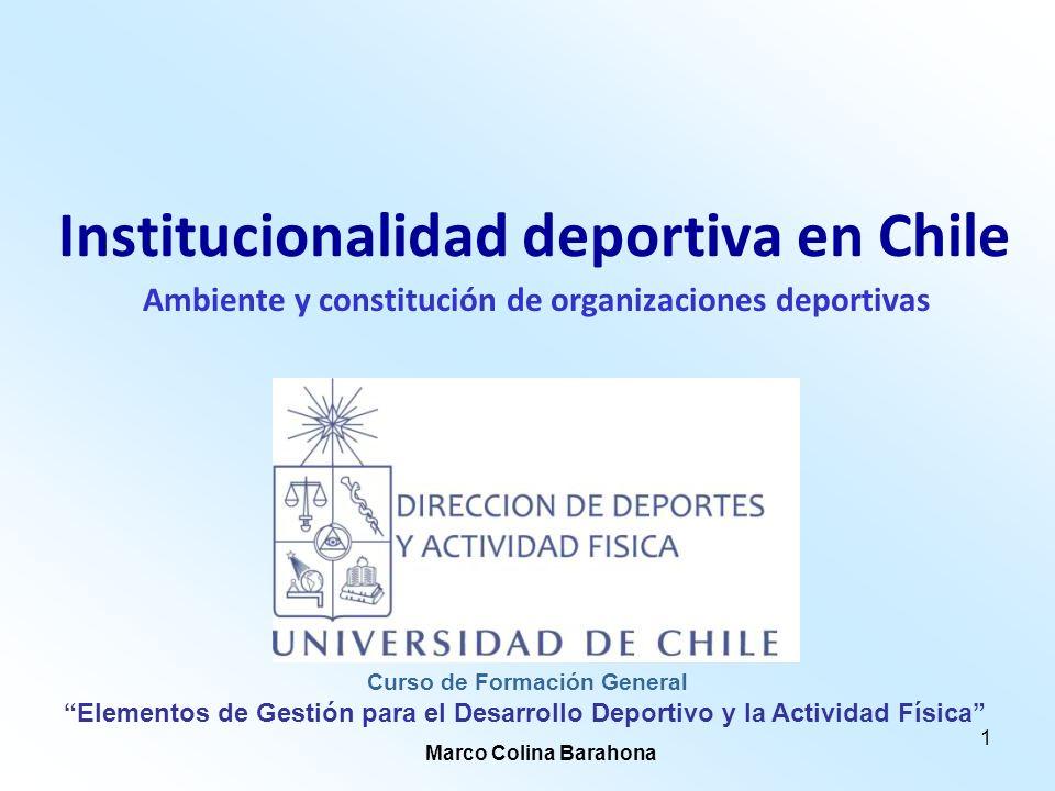 1 Institucionalidad deportiva en Chile Ambiente y constitución de organizaciones deportivas Elementos de Gestión para el Desarrollo Deportivo y la Act