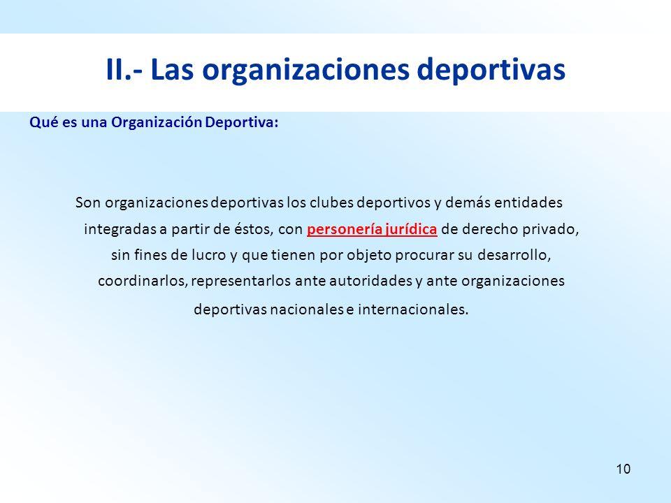 10 II.- Las organizaciones deportivas Son organizaciones deportivas los clubes deportivos y demás entidades integradas a partir de éstos, con personer