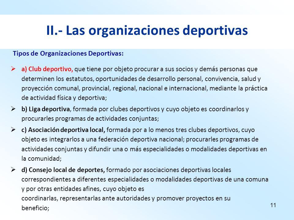 11 II.- Las organizaciones deportivas a) Club deportivo, que tiene por objeto procurar a sus socios y demás personas que determinen los estatutos, opo
