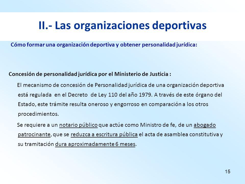 15 II.- Las organizaciones deportivas Concesión de personalidad jurídica por el Ministerio de Justicia : El mecanismo de concesión de Personalidad jur