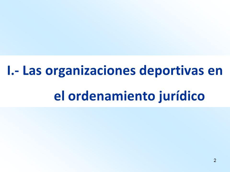 2 I.- Las organizaciones deportivas en el ordenamiento jurídico