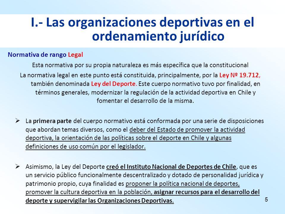 5 I.- Las organizaciones deportivas en el ordenamiento jurídico Esta normativa por su propia naturaleza es más específica que la constitucional La nor
