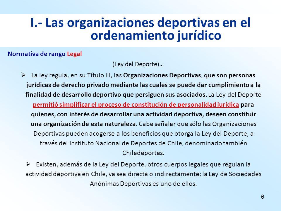 6 I.- Las organizaciones deportivas en el ordenamiento jurídico (Ley del Deporte)… La ley regula, en su Título III, las Organizaciones Deportivas, que