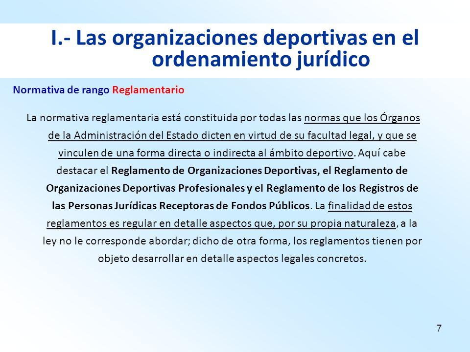 7 I.- Las organizaciones deportivas en el ordenamiento jurídico La normativa reglamentaria está constituida por todas las normas que los Órganos de la