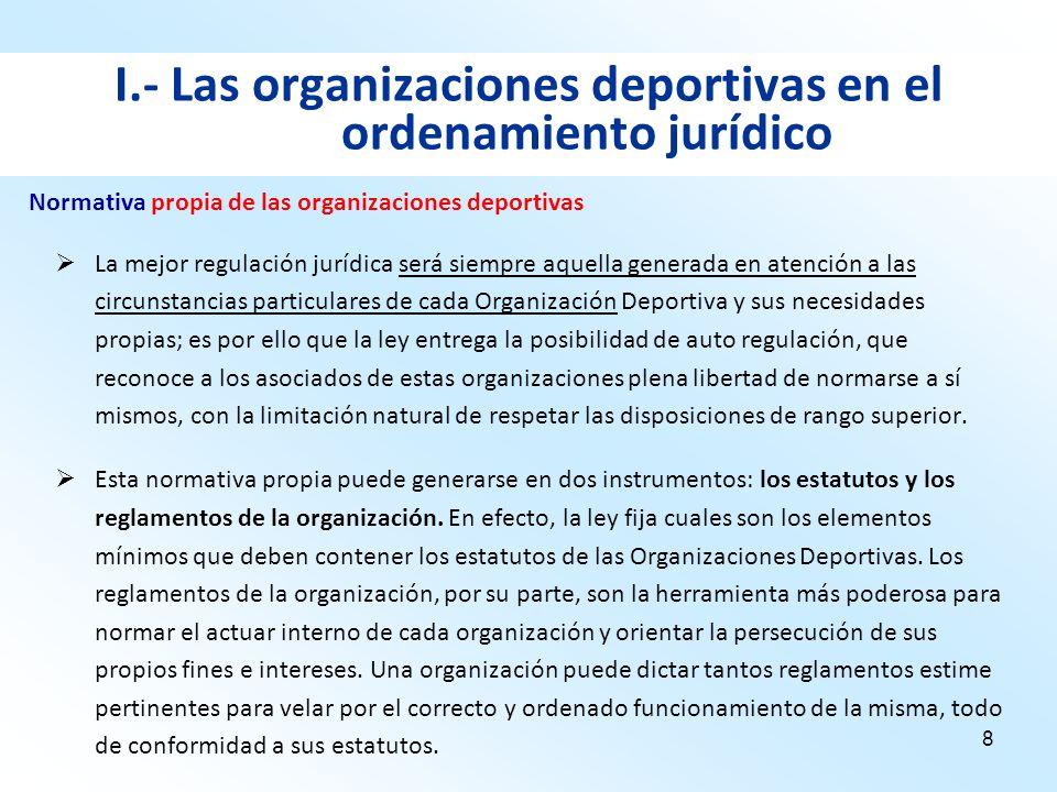 8 I.- Las organizaciones deportivas en el ordenamiento jurídico La mejor regulación jurídica será siempre aquella generada en atención a las circunsta