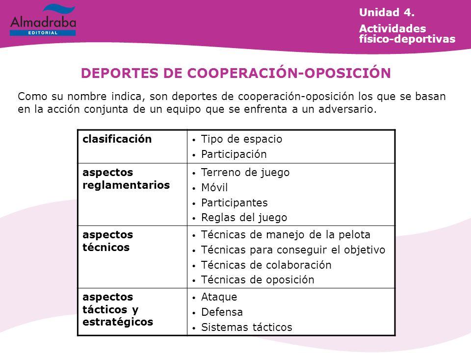 DEPORTES DE COOPERACIÓN-OPOSICIÓN Como su nombre indica, son deportes de cooperación-oposición los que se basan en la acción conjunta de un equipo que