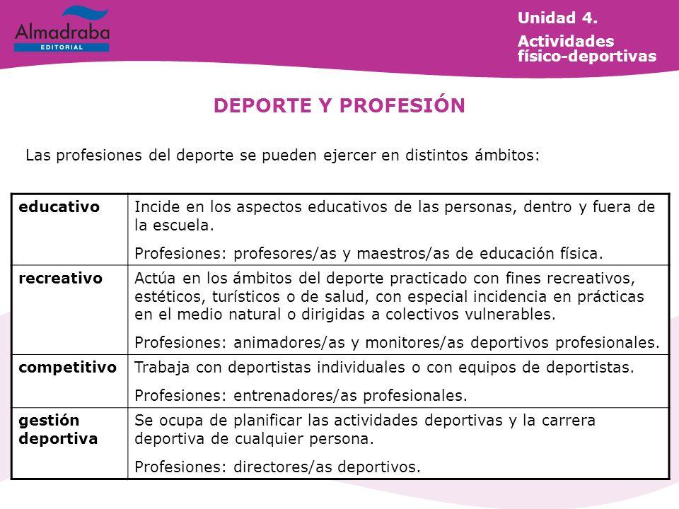 DEPORTE Y PROFESIÓN Las profesiones del deporte se pueden ejercer en distintos ámbitos: educativoIncide en los aspectos educativos de las personas, de