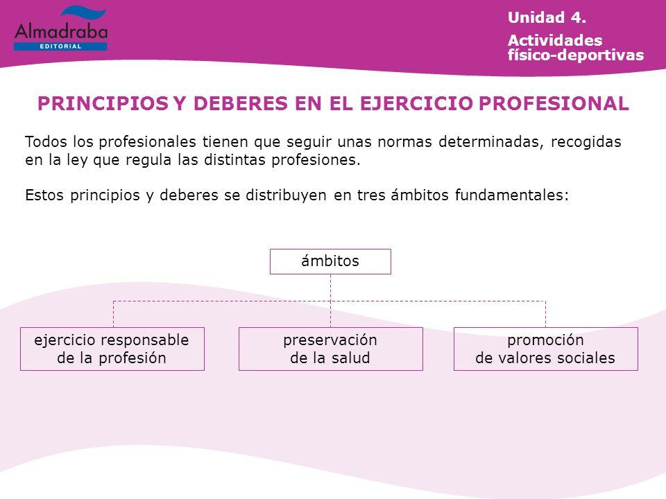 PRINCIPIOS Y DEBERES EN EL EJERCICIO PROFESIONAL Todos los profesionales tienen que seguir unas normas determinadas, recogidas en la ley que regula la