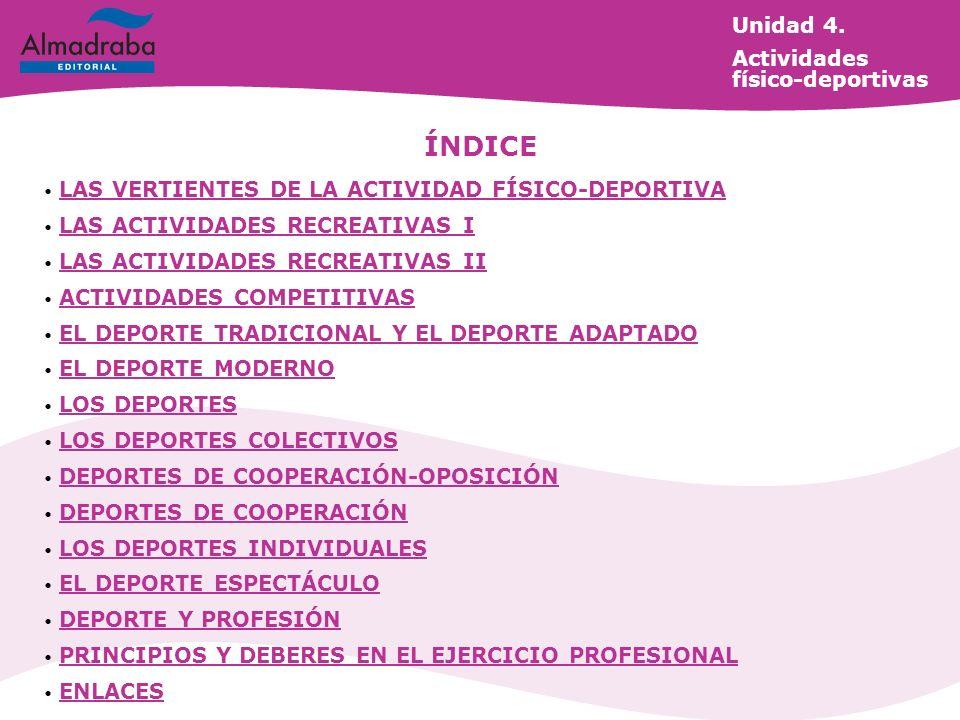 Unidad 4. Actividades físico-deportivas ÍNDICE LAS VERTIENTES DE LA ACTIVIDAD FÍSICO-DEPORTIVA LAS VERTIENTES DE LA ACTIVIDAD FÍSICO-DEPORTIVA LAS ACT
