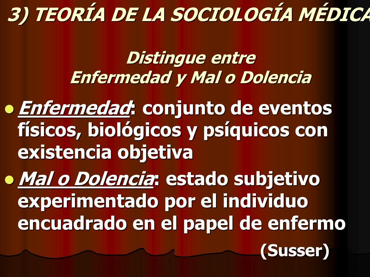 3) TEORÍA DE LA SOCIOLOGÍA MÉDICA Distingue entre Enfermedad y Mal o Dolencia Enfermedad: conjunto de eventos físicos, biológicos y psíquicos con exis
