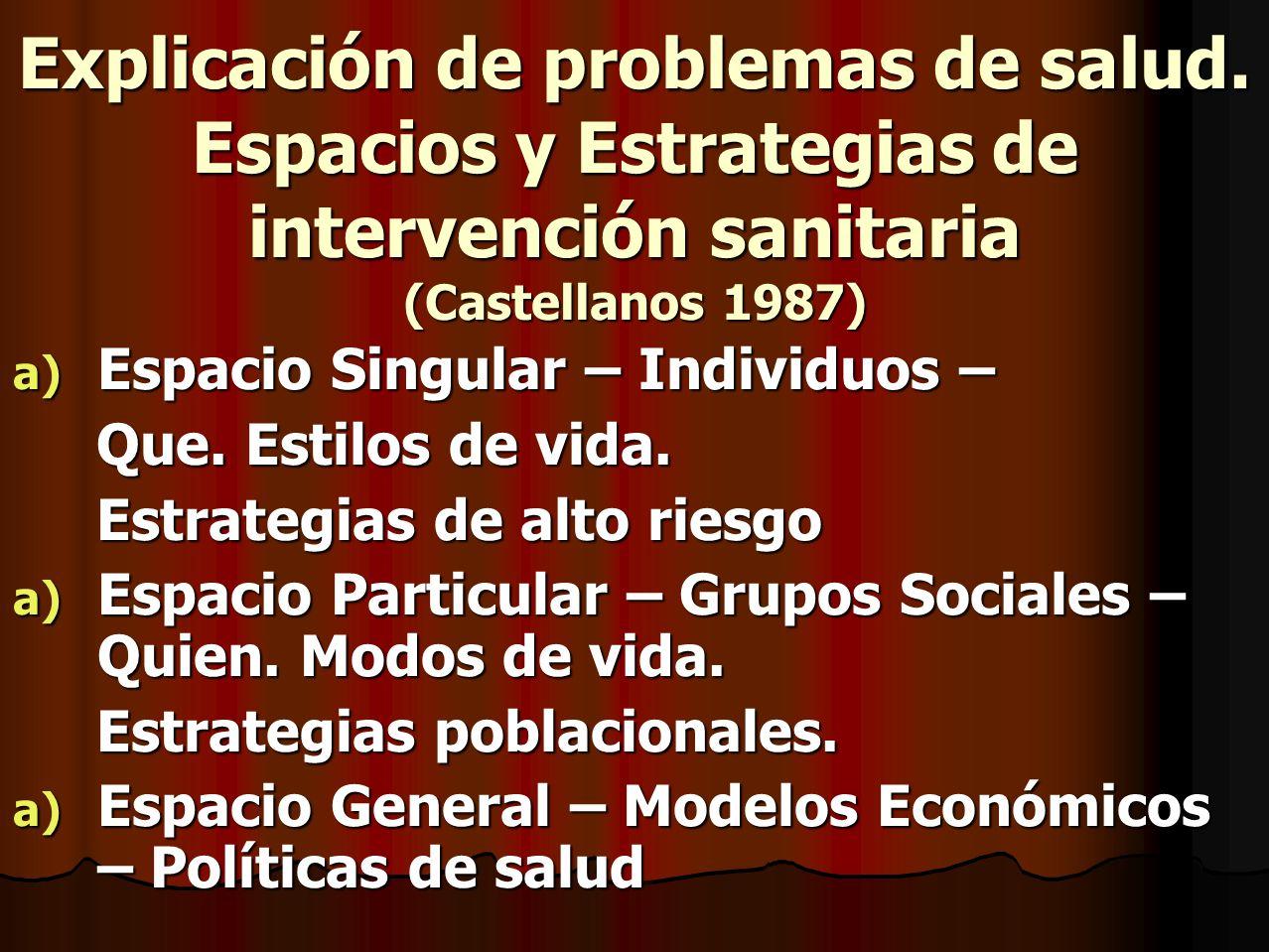 Explicación de problemas de salud. Espacios y Estrategias de intervención sanitaria (Castellanos 1987) a) Espacio Singular – Individuos – Que. Estilos